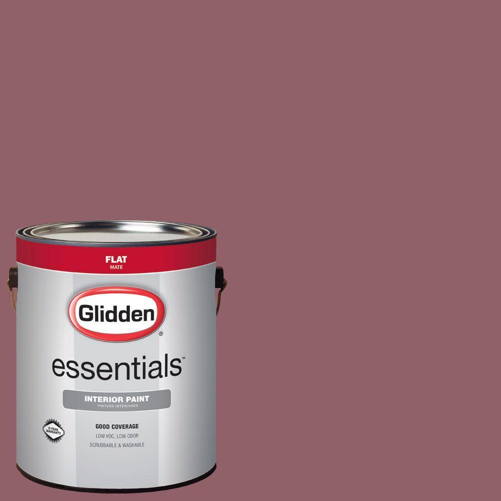 Glidden Essentials 1 Gal Hdgr25d Colonial Brick Red Flat Interior Paint Hdgr25de 01fn The Home Depot