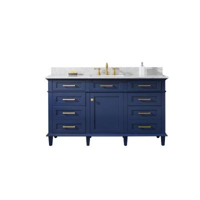 60 in. W x 22 in. D Vanity in Blue with Marble Vanity Top in White with Single White Basin with Backsplash