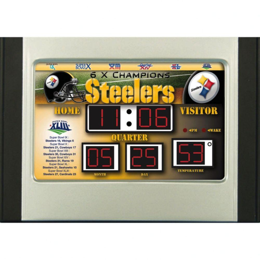 null Pittsburgh Steelers 6.5 in. x 9 in. Scoreboard Alarm Clock with Temperature