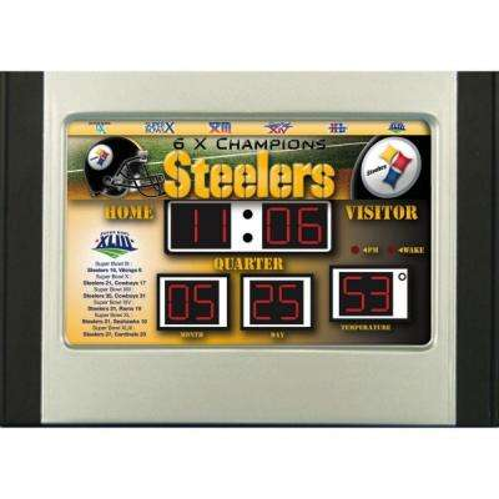 Pittsburgh Steelers 6.5 in. x 9 in. Scoreboard Alarm Clock with Temperature