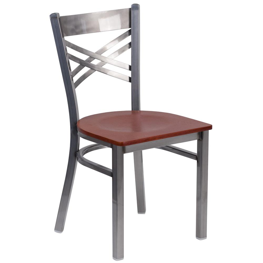Hercules Cherry Wood Seat/Clear Coated Metal Frame Side Chair
