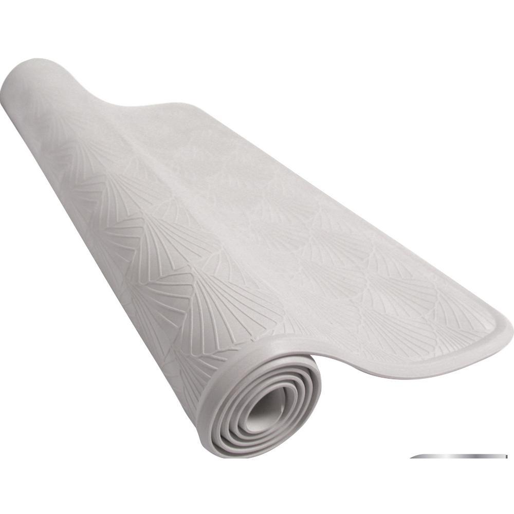 15.5 in. x 27.5 in. Rubber Bath Mat in White
