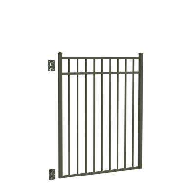 Natural Reflections Standard-Duty 4 ft. W x 4.5 ft. H Pewter Aluminum Straight Pre-Assembled Fence Gate