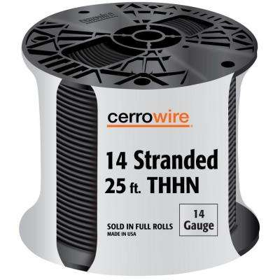 25 ft. 14-Gauge Single Conductor Black Stranded THHN Wire
