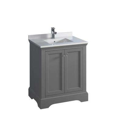 Windsor 30 in. W Traditional Bathroom Vanity in Gray Textured, Quartz Stone Vanity Top in White with White Basin