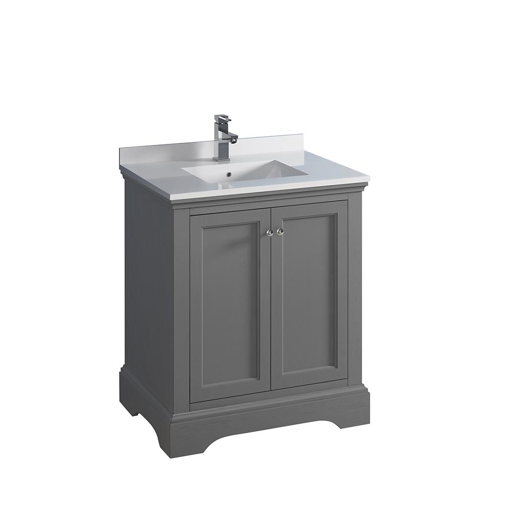 W Traditional Bathroom Vanity In Gray Textured Quartz