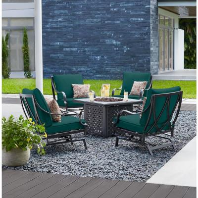 Highland Point Black Pewter 5-Piece Aluminum Outdoor Patio Fire Pit Set with CushionGuard Malachite Green Cushions