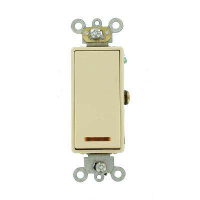 20 Amp Decora Plus Commercial Grade Single Pole Lighted Rocker Switch with Pilot Light, Ivory