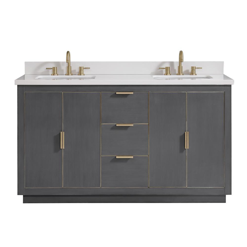 Avanity Austen 61 In W X 22 In D Bath Vanity In Gray With Gold