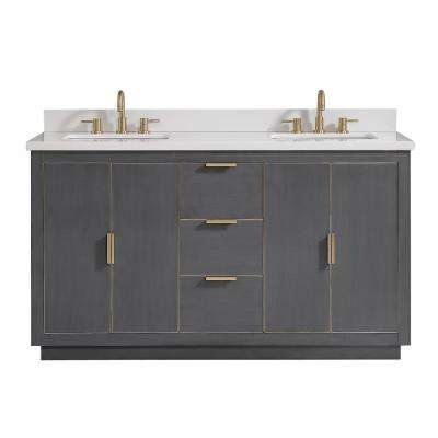 Austen 61 in. W x 22 in. D Bath Vanity in Gray with Gold Trim with Quartz Vanity Top in White with Basins