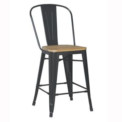 24 in. Black Backed Counter Stool (Set of 2)