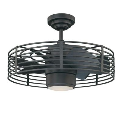 Enclave 23 in. Natural Iron LED Ceiling Fan with Light and Wall Control
