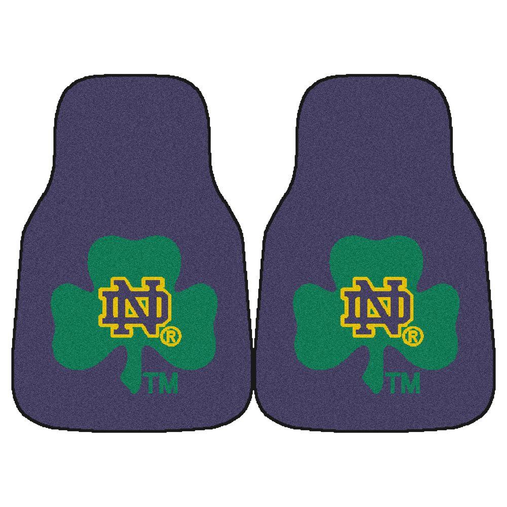 Notre Dame University 18 in. x 27 in. 2-Piece Carpeted Car