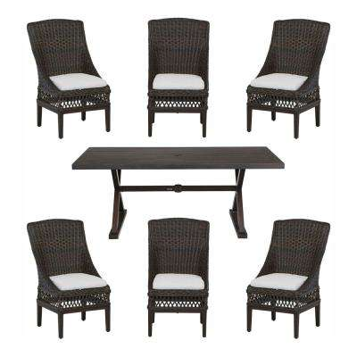 Woodbury 7-Piece Wicker Outdoor Patio Dining Set with Cushions Included, Choose Your Own Color