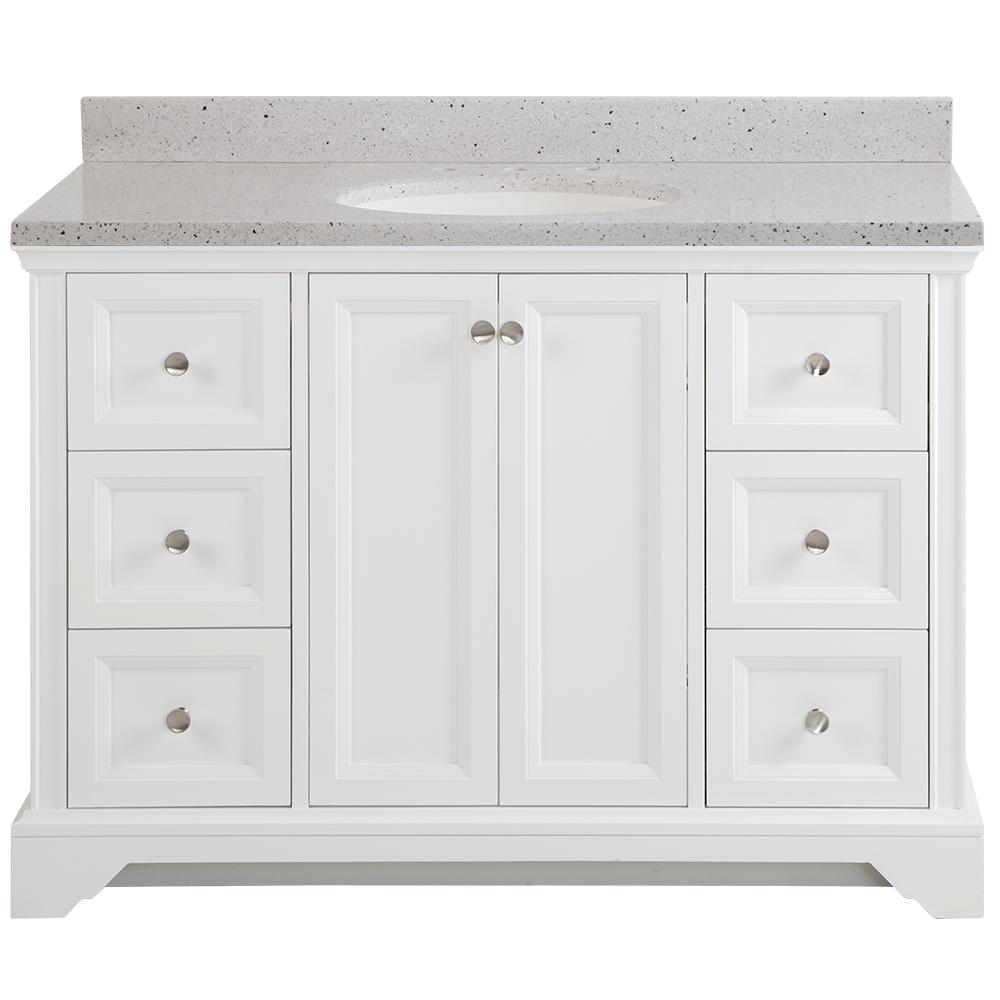Home Decorators Collection Stratfield 49 in. W x 22 in. D Bathroom Vanity in White with Solid Surface Vanity Top in Silver Ash with White Sink