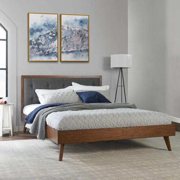 Linon Home Decor Mid Century Platform Queen Upholstered Bed Thd02014 The Home Depot