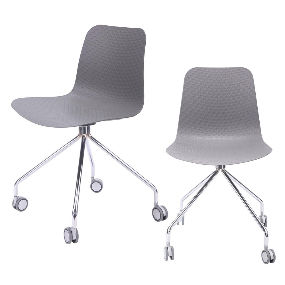 CozyBlock Hebe Series Gray Office Chair Designer Task Chair Molded Plastic  Seat with Chrome Wheel Legs (Set of 44242)-HEBE-442-GRY-44242 - The Home Depot