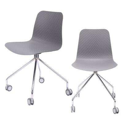 Hebe Series Gray Office Chair Designer Task Chair Molded Plastic Seat with Chrome Wheel Legs (Set of 2)