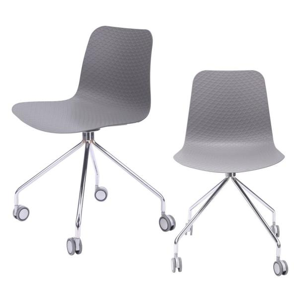 Cozyblock Hebe Series Gray Office Chair Designer Task Chair Molded Plastic Seat With Chrome Wheel Legs Set Of 2 Hebe 4 Gry 2 The Home Depot
