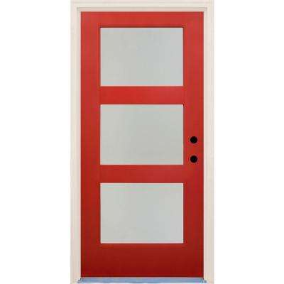 36 in. x 80 in. Elite Engine Satin Etch Glass Contemporary 3 Lite Painted Fiberglass Prehung Front Door with Brickmould