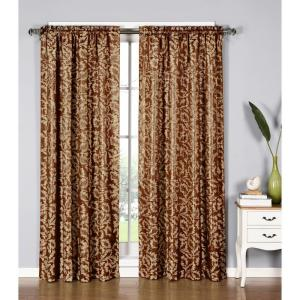 Window Elements Semi-Opaque Dawson Shimmering Leaf 54 inch W x 84 inch L Rod Pocket Extra Wide Curtain Panel in Rust by Window Elements