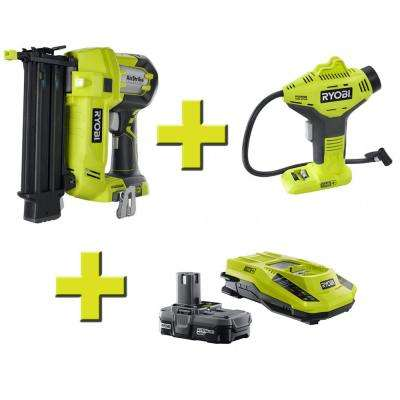 18-Volt ONE+ Airstrike 18-Gauge Brad Nailer + ONE+ Pistol Grip Inflator + Lithium Upgrade Kit