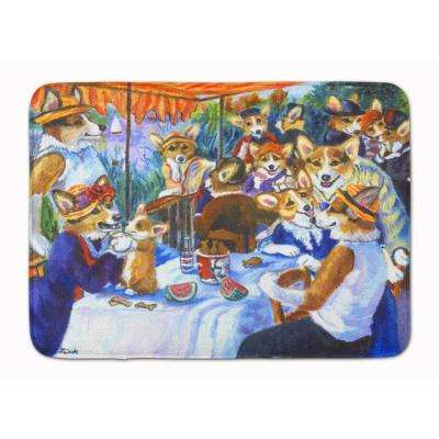 19 in. x 27 in. Corgi Boating Party Machine Washable Memory Foam Mat