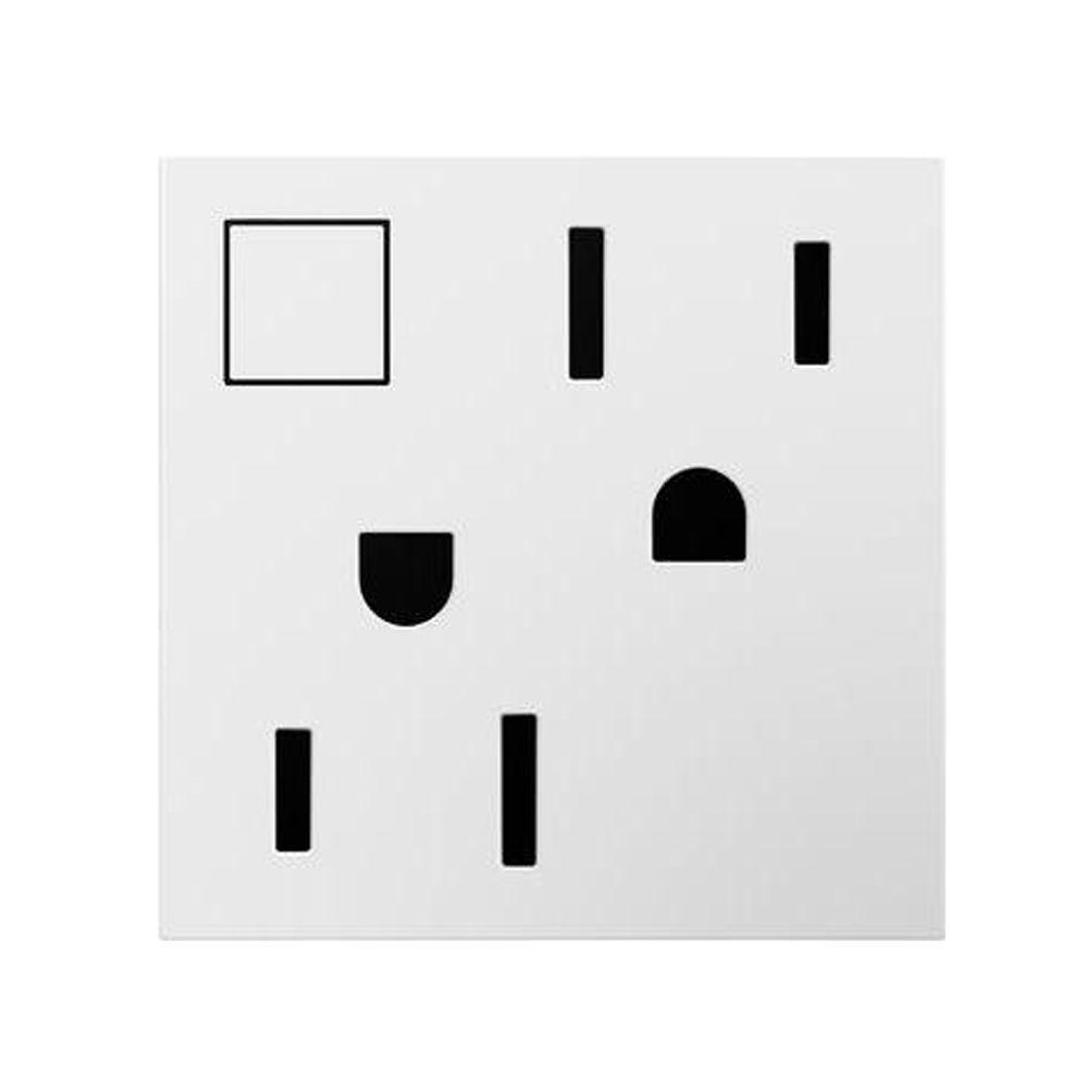 15 Amp 2-Module Power Saver Wireless On/Off Duplex Outlet, White