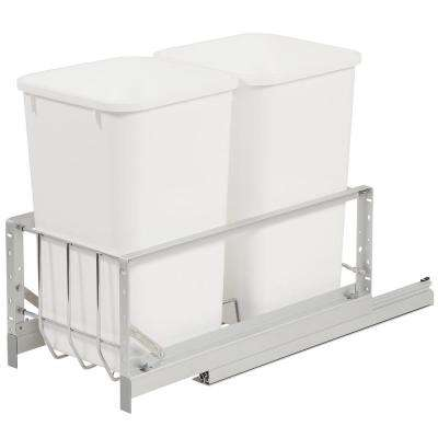 18.94 in. H x 11.69 in. W x 22.25 in. D Double 27 Qt. Pull-Out Brushed Aluminum and White Waste Container
