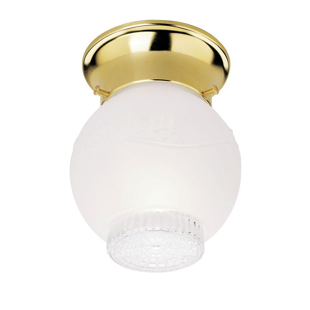 Plc lighting 1 light polished brass ceiling flush mount light with 1 light ceiling fixture polished brass interior flush mount with frosted and mozeypictures Images