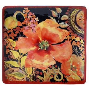 Certified International The Watercolor Poppies Collection Square Platter by Certified International