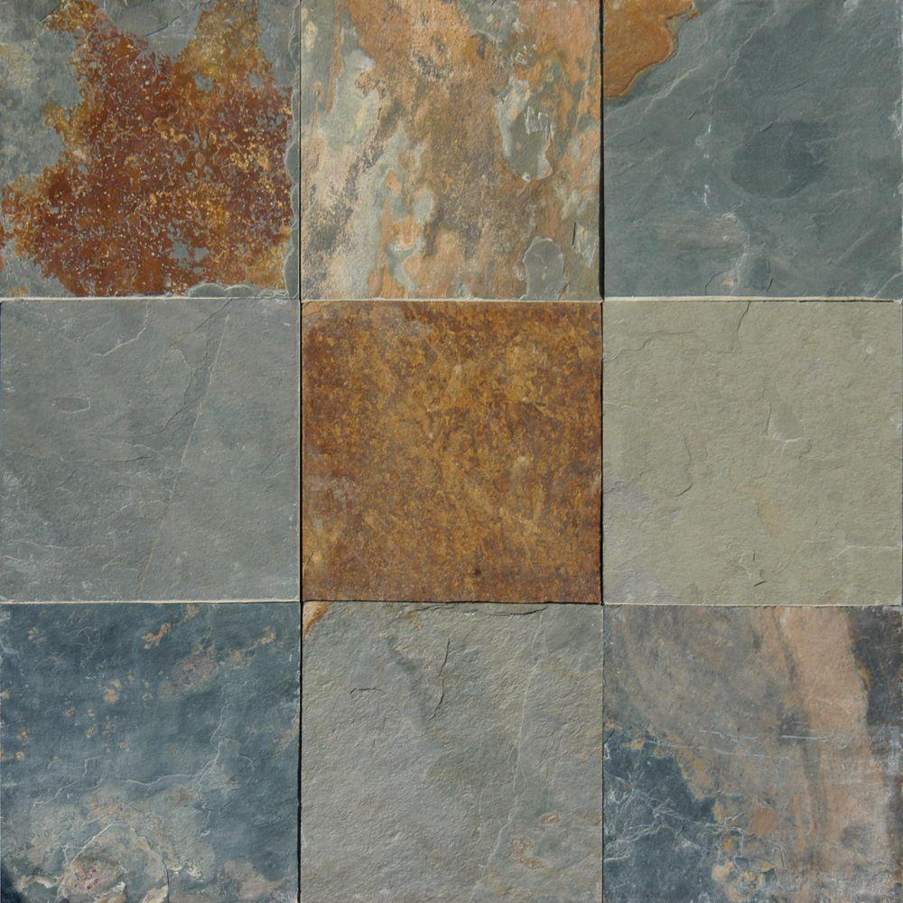 Ms international multi color 12 in x 12 in gauged slate floor and wall tile 5 sq ft case Slate tile flooring