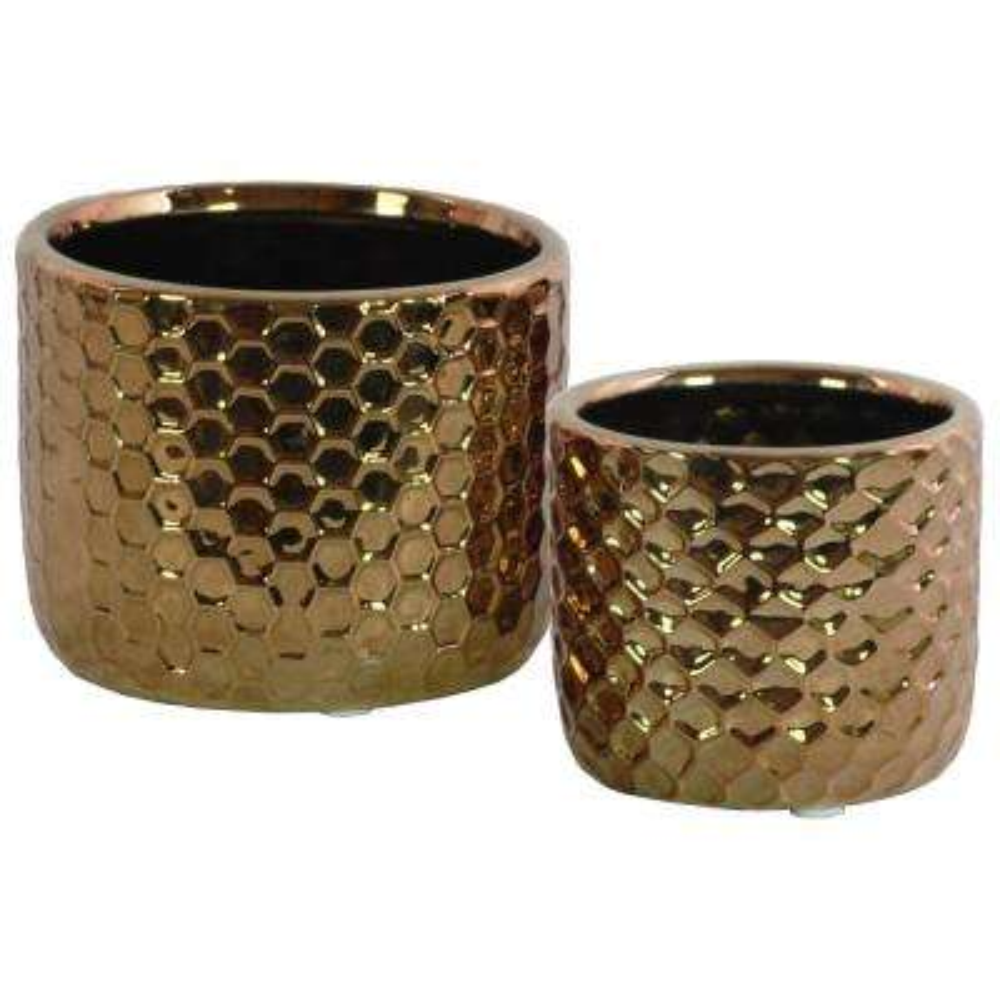 Copper Polished Chrome Ceramic Decorative Vase