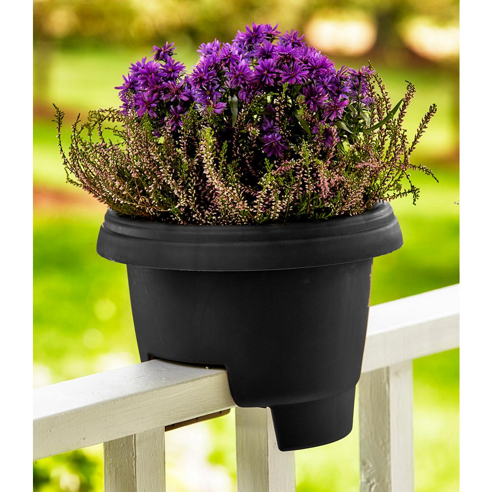 bloem deck 12 in balcony rail planter in black dr1200 the home depot rh homedepot com Deck Railing Flower Planters Railing Planter Boxes Home Depot