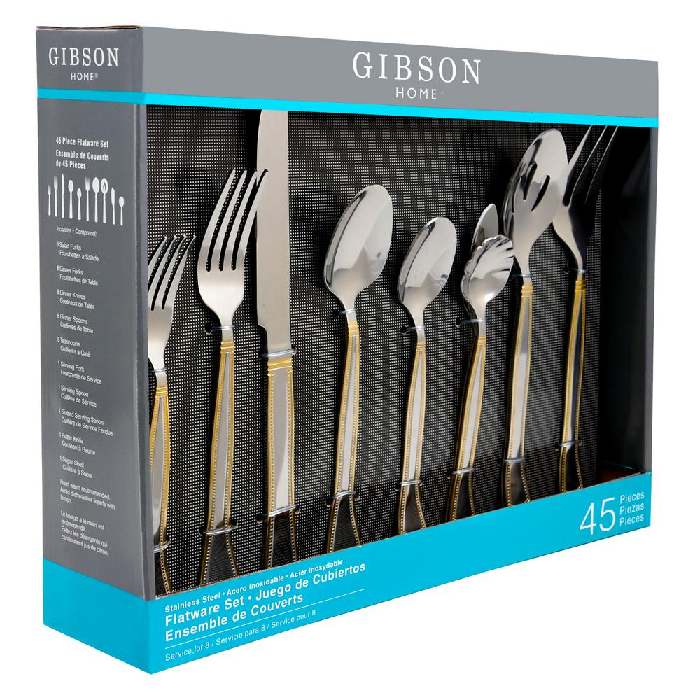 Grand Abby 45-Piece with Gold Accent Handle Flatware Set