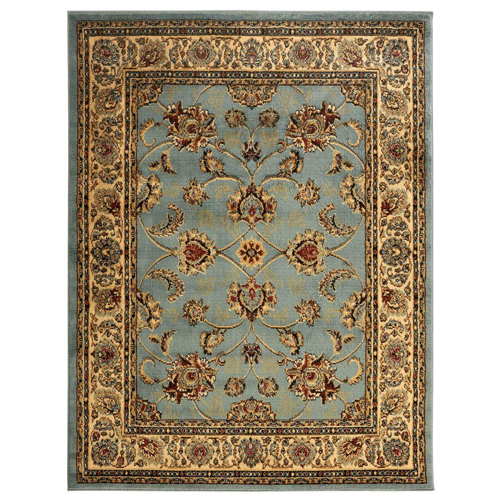 Area Rugs Home Depot: Ottomanson Traditional Oriental Light Blue 5 Ft. X 7 Ft