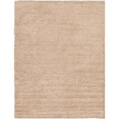 Solid Shag Taupe 10 ft. x 13 ft. Area Rug