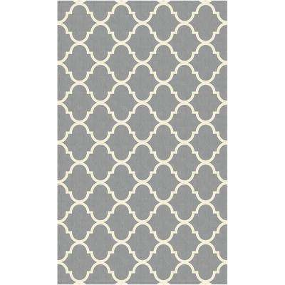 Washable Moroccan Trellis Lt Grey 3 Ft X 5 Stain Resistant Area