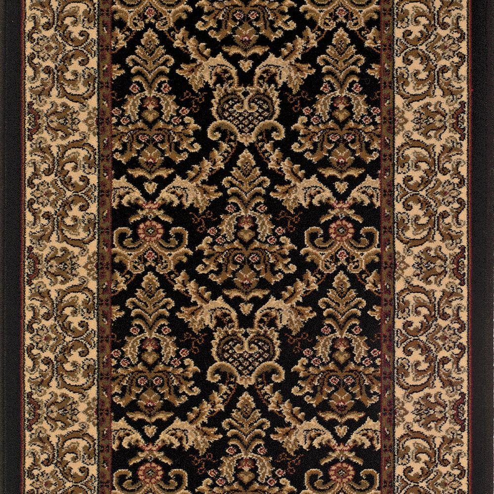 Kurdamir Elegante Black 33 in. x Your Choice Length Roll Runner