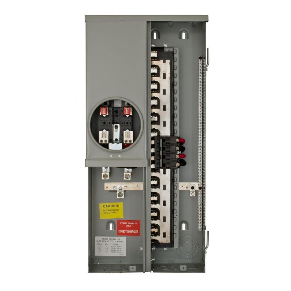 Outdoor Meter Socket Main Breaker Load Center Combo 200 Amp 20 Space 40 Circuit