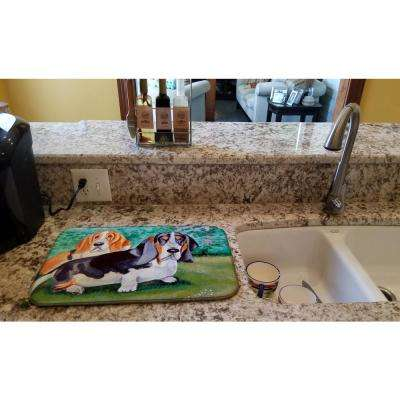 14 in. x 21 in. Multi-Color Basset Hound Double Trouble Dish Drying Mat