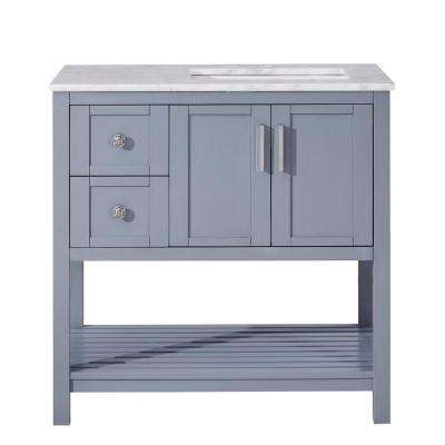 36 in. W x 22 in. D Bath Vanity in Ocean Grey with Marble Vanity Top in Carrara White with White Basin