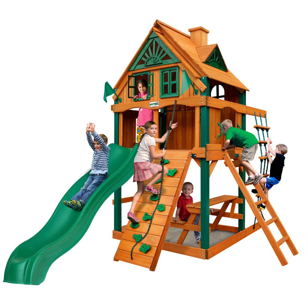 Gorilla Playsets Chateau Tower Treehouse Wooden Playset with Fort Add-On, Timber ShieldPosts, and Rock Climbing Wall