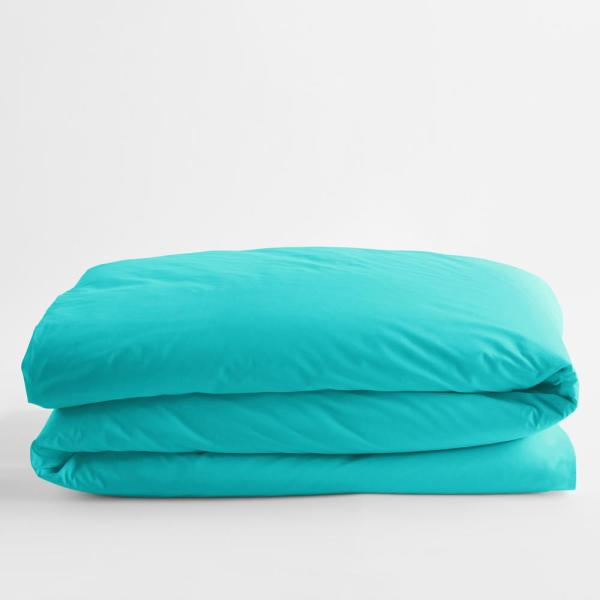 Classic Turquoise Blue Solid Cotton Percale Twin XL Duvet Cover