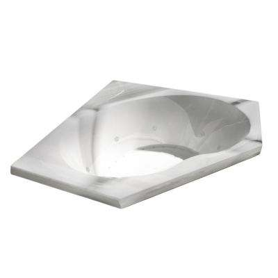 Quartz 5 ft. Acrylic Corner Drop-in Air and Whirlpool Bathtub in White
