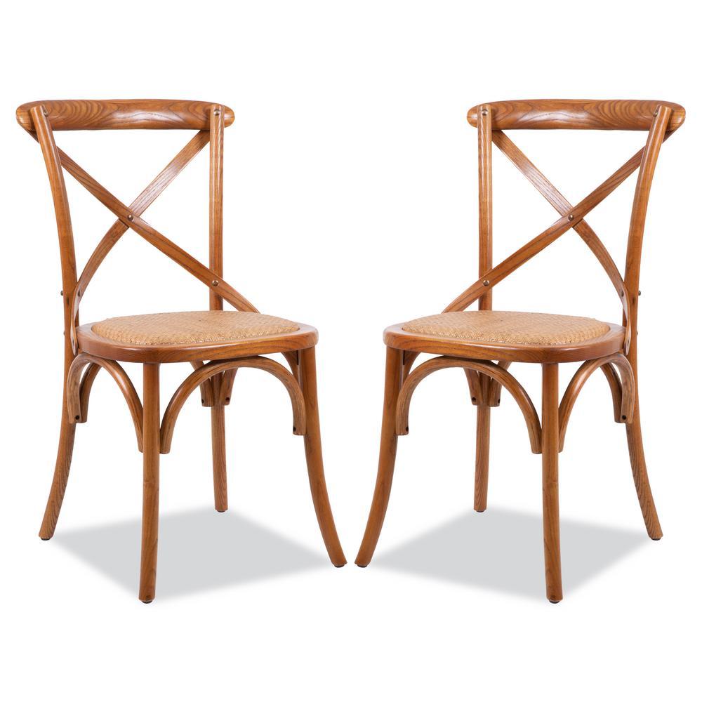 Cafton Honey Oak Crossback Chair (Set of 2)