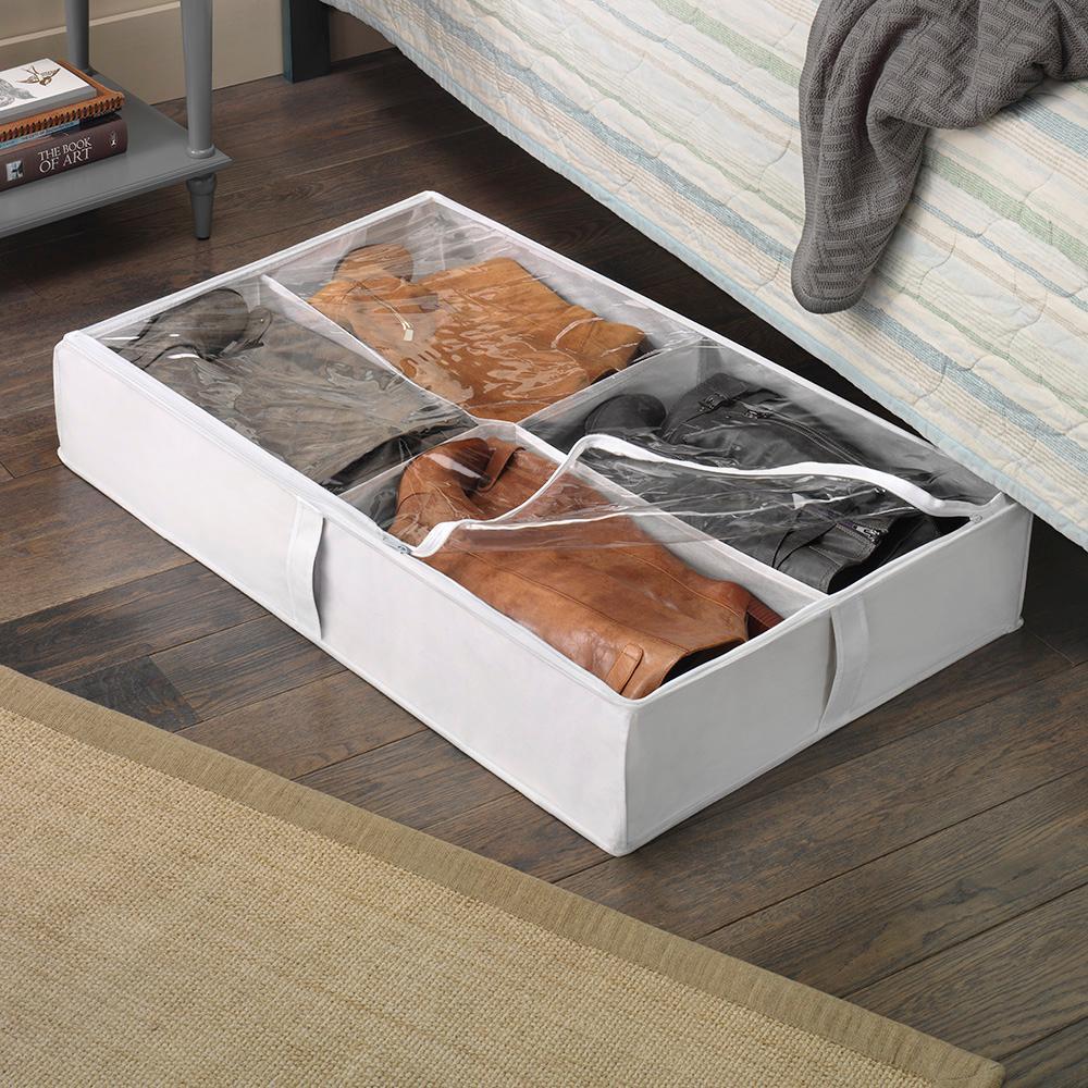SamiTime 12 Pairs Under Bed Shoe Organizer Closet Storage Solution Organizer Box with Front Zippered Closure