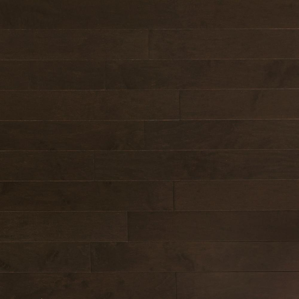 Heritage Mill Take Home Sample Maple Midnight Engineered Click Hardwood Flooring 5 In. X 7 In., Black
