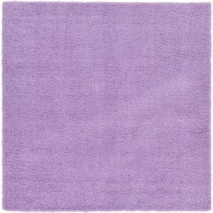 Solid Shag Lilac 8 ft. Square Area Rug