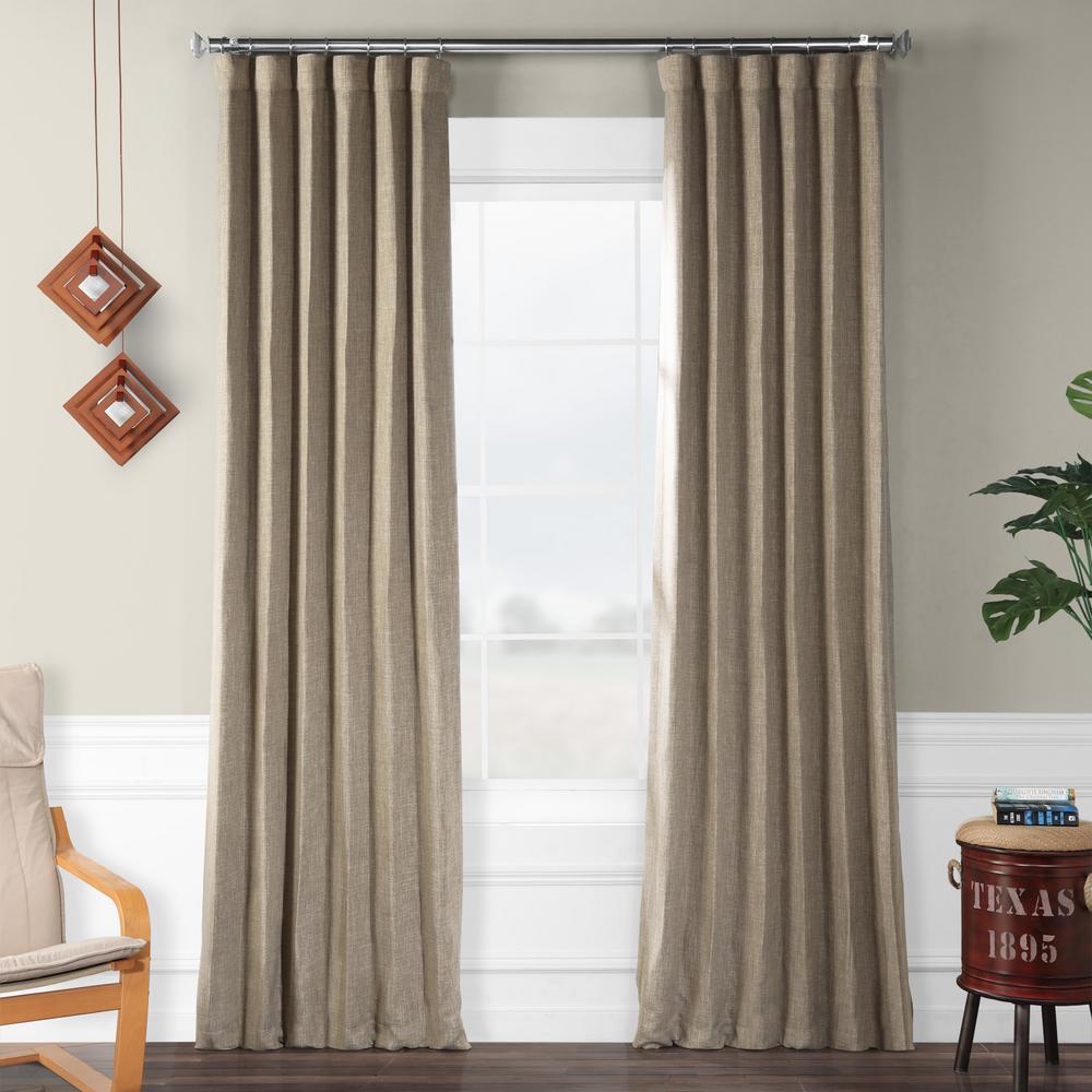 Mink Gray Faux Linen Blackout Curtain - 50 in. W x 108 in. L